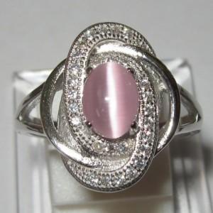 Cincin Pink Cat Eye 7US berkesan Lembut dan Cantik