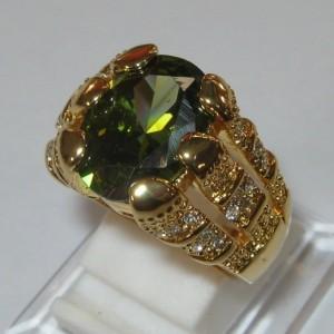 Cincin Pria Modern Style Peridot Cz Ring 8US