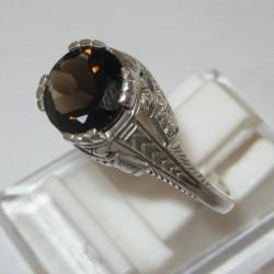 Cincin Silver 925 Smoky Topaz Ring 8US