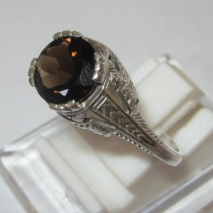 Cincin Silver 925 Smoky Topaz Ring 8US model Victorian