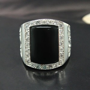 Cincin Black Agate Silver 925 Mens Ring 7US