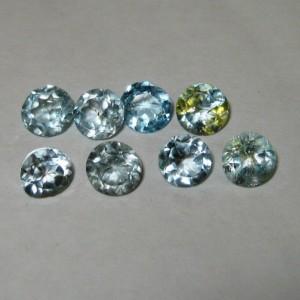 8 Pcs Light Blue Topaz Round 5mm ~ Batu Permata Harga Grosir