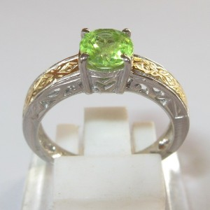 Silver Peridot Statement Ring ASR01