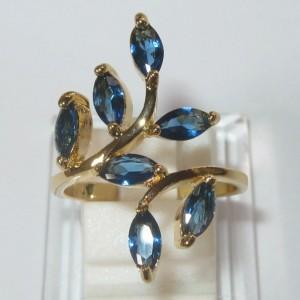 Cincin Yellow Gold Filled 10K Sapphire Blue CZ