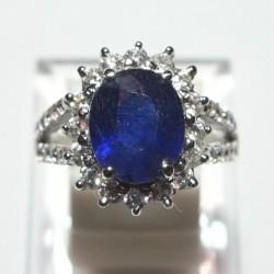 Cincin Silver Blue Sapphire Ring 6US