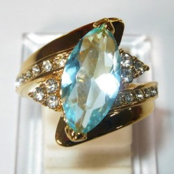 Cincin Marquise Topaz Cz Ring 6US Gold Filled