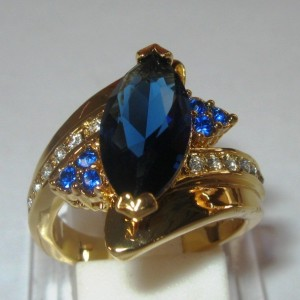 Cincin GF Model Blue Sapphire Cz Marquise Ring 6US