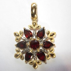 Liontin Garnet Merah Asli Silver 925
