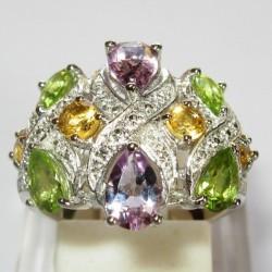 Cincin Silver 925 Ring 5US dengan pemata warna warni