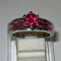 Silver 925 Ruby CZ Ring 8US