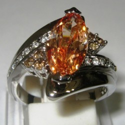 Cincin Gold Filled Ring 7US Model Citrine CZ