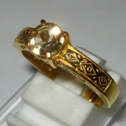Cincin Silver Yellow Citrine Ring 7.5US
