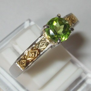 Silver Peridot Ring 10US