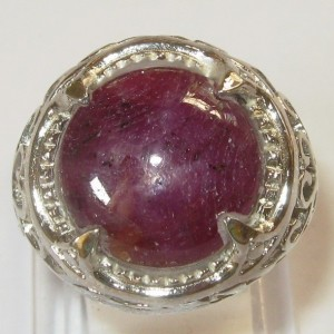 Silver Star Ruby Ring 8.5 US