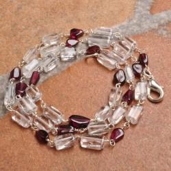 Kalung Garnet dan Kristal 18 Inch