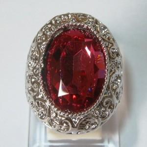 Cincin Perak Pink Topaz CZ Ring 8US