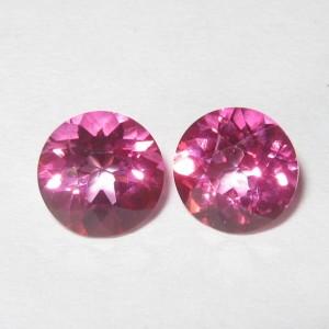 2 Pcs Batu Permata Pink Topaz Round 6mm 1.90 carat