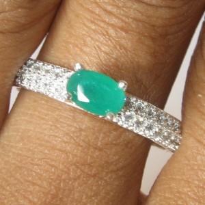 Cincin Lapis Perak Model Zamrud Ring 8US
