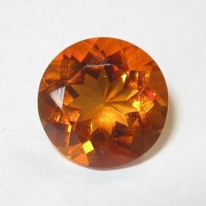 Round Madeira Orange Citrine 2.47 carat ~ Permata Kualitas Bagus
