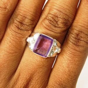 Amethyst Silver Ring 7US