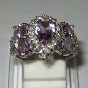 Princess Amethyst Silver Ring 8US