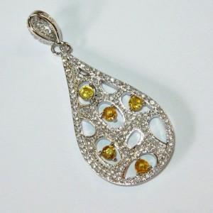 Liontin Silver 925 Safir Songea Kuning untuk Wanita