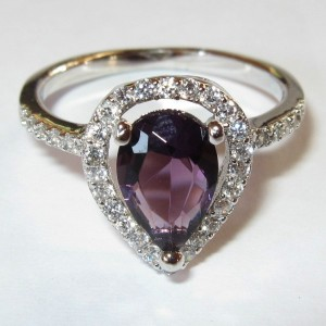 Amethyst CZ Gold Filled Ring 6.5 US
