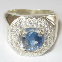 Round Ceylon Sapphire Silver Ring 8.5US