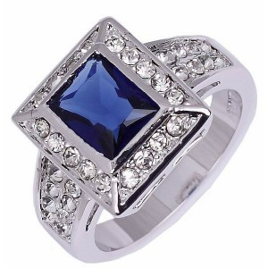 Cincin Pria Ring 8 CZ Sapphire 10K White Gold Filled