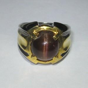Cincin Pria Spectrolite Cat Eye Silver Ring 8.5US