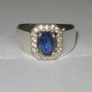 Cincin Pria Safir Ceylon Silver Ring 8US