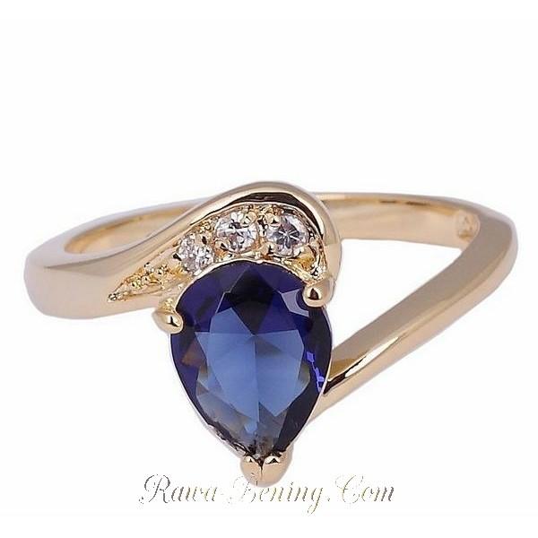 cincin wanita dengan model blue sapphire
