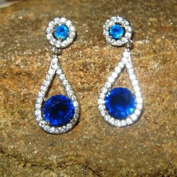 Anting Fashion Model Blue Sapphire CZ