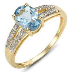 Cincin Blue Topaz CZ Ring 6