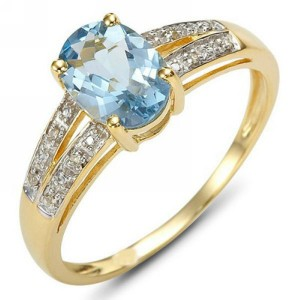 Cincin Blue Topaz CZ Ring 6
