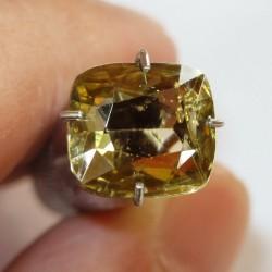 Batu Mulia Brownish Yellow Zircon Cushion 2.56 carat
