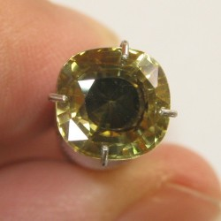 Zircon Cushion Yellow Brownish 2.52 carat