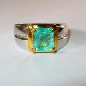 Cincin Pria Silver Ring 9US Zamrud 1.80 cts