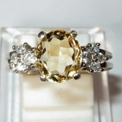 Silver Citrine Trilogy Ring 7US