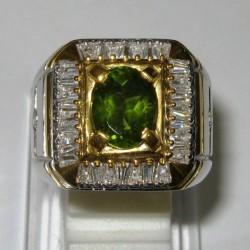 Cincin Pria Peridot Silver Ring 10US