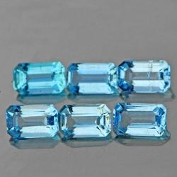 6 Pcs Rectangular Aquamarine