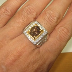 Cincin Pria Smokey Quartz Ring 11.5US