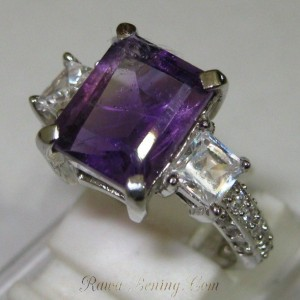Elegant Silver Purple Amethyst Ring 6.5US
