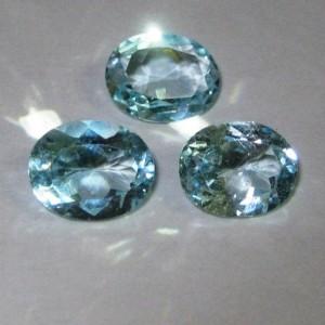 Batu Permata Sky Blue Topaz 9.20 carat Oval 3 pcs