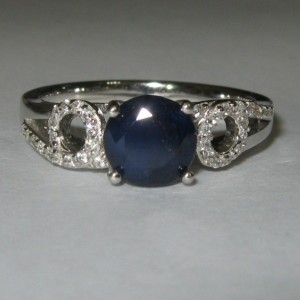 Blue Sapphire Silver Ring Size 8US