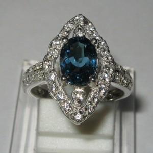 Cincin Permata London Blue Topaz Ring 6US untuk Wanita