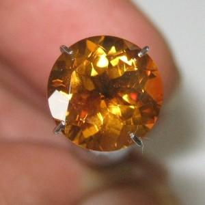 Permata Citrine Oranye Round Cut 2.50 carat Asli Alami