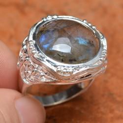 Cincin Batu Labradorite Alami
