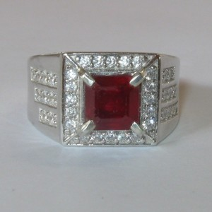 Gentle Men's Blood Ruby Ring 8US