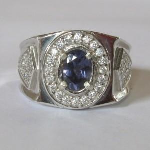 Cincin Permata Iolite untuk Pria Silver 925 Ring 9US